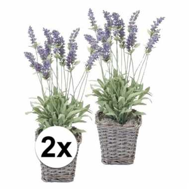 2x paarse lavendel kunstplant in picknick mand 45 cm