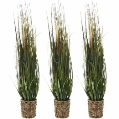3x groene grasplanten kunstplanten 100 cm in picknick mand