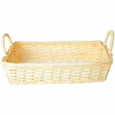 Creme picknick mandje rechthoekig 32 5 cm