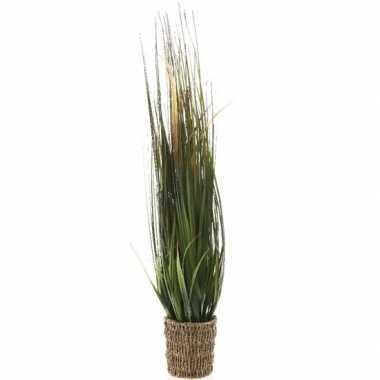 Groene grasplant kunstplant 100 cm in picknick mand