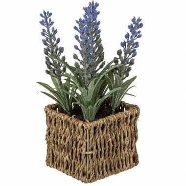 Kunstplant paarse lavendel in picknick mandje 19 cm