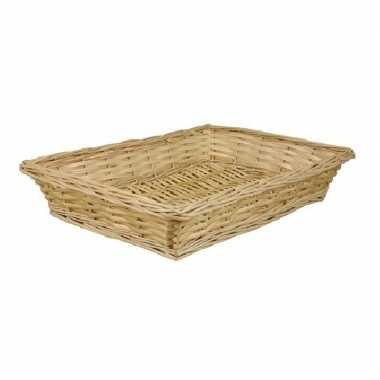 Rechthoekige picknick mand/schaal 36 x 26 x 7 cm