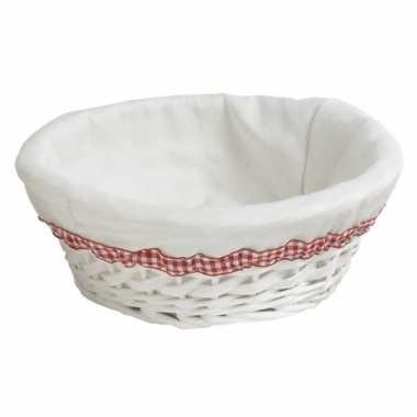 Rond picknick mandje wit 24 cm