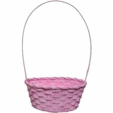 Roze picknick mandje met hengsel 38 cm