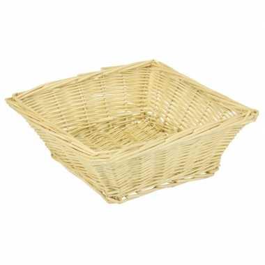 Vierkante picknick mand/schaal 26 x 26 x 8 cm