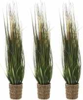 3x groene grasplanten kunstplanten 80 cm in picknick mand