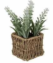 Kunstplant witte lavendel in picknick mandje 19 cm